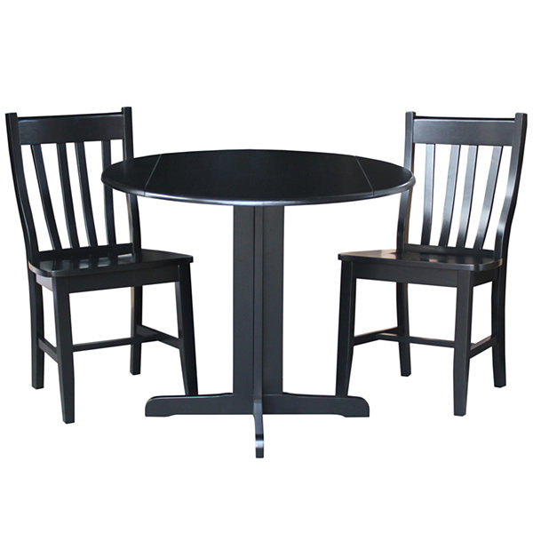 Dual Drop Leaf 3-pc. Counter Height Round Dining Set