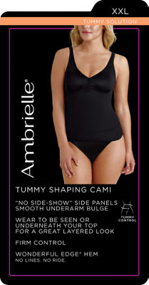 "Ambrielle No ""Side-Show"" Waist Shaping Tank Firm Control Shapewear Camisole-129-3047"