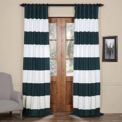 Exclusive Fabrics & Furnishing Horizontal Stripe Cotton Curtain Panel