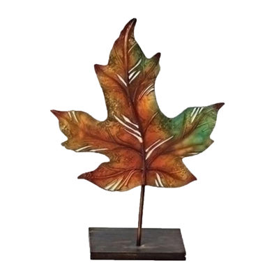 "14"" Multi-Colored Autumn Harvest Maple Leaf Decorative Votive Candle Holder"