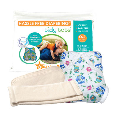 Tidy Tots Hassle Free 2 Diaper Trial Set with Owls Cover
