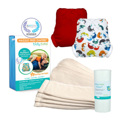 Tidy Tots Hassle Free 4 Diaper Essential Set with Whales and Red Covers