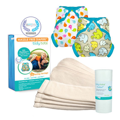 Tidy Tots Hassle Free 4 Diaper Essential Set with TweetHeart and Elephants Covers
