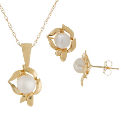 Womens 2-pack Pearl 14K Gold Jewelry Set
