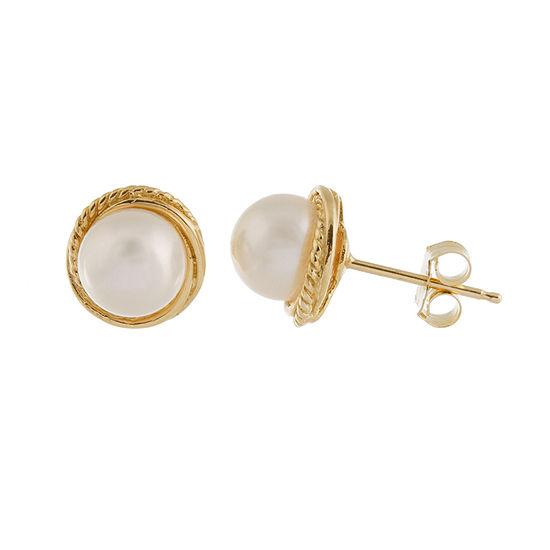 Cultured Akoya Pearl 14k Gold 7mm Stud Earrings