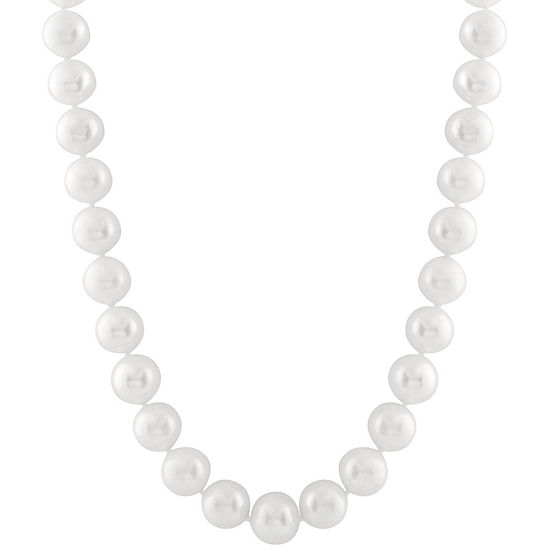 Splendid Pearls Womens 8MM White Cultured Freshwater Pearl 14K Gold Strand Necklace