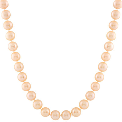 Splendid Pearls Womens 8MM Pink Cultured Freshwater Pearl 14K Gold Strand Necklace