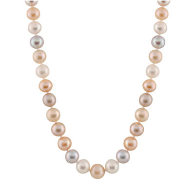 Splendid Pearls Womens 8MM Multi Color Cultured Freshwater Pearl 14K Gold Strand Necklace