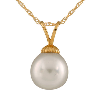 Splendid Pearls Womens Cultured South Sea Pearls 14K Gold Pendant Necklace