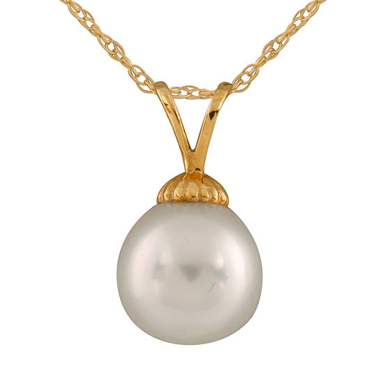 Splendid Pearls Womens Cultured South Sea Pearl 14K Gold Pendant Necklace