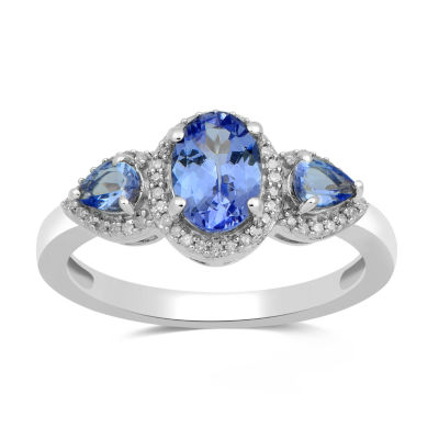 Womens 1/8 CT. T.W. Genuine Blue Tanzanite 10K White Gold Cocktail Ring