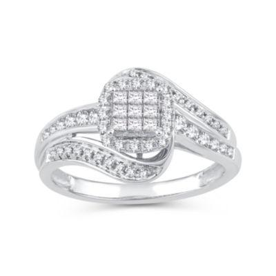 Womens 1/2 CT. T.W. White Diamond 10K White Gold Engagement Ring