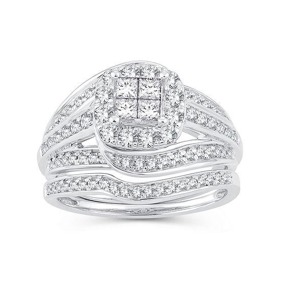 Womens 1 CT. T.W. Genuine White Diamond 10K White Gold Engagement Ring