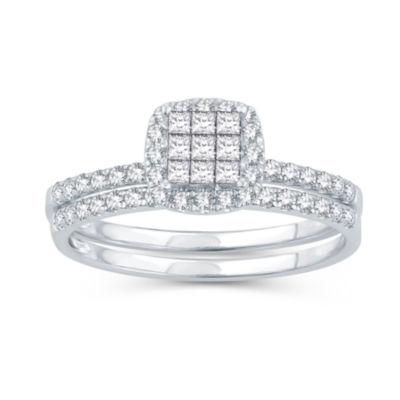 Womens 1/2 CT. T.W. Genuine White Diamond 10K Gold Engagement Ring