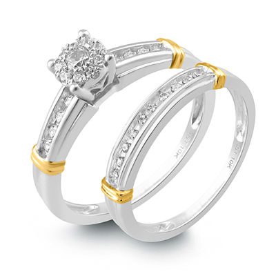 Womens 1/4 CT. T.W. White Diamond 14K Gold Bridal Set