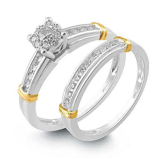 Womens 1/4 CT. T.W. Genuine White Diamond 14K Gold Bridal Set