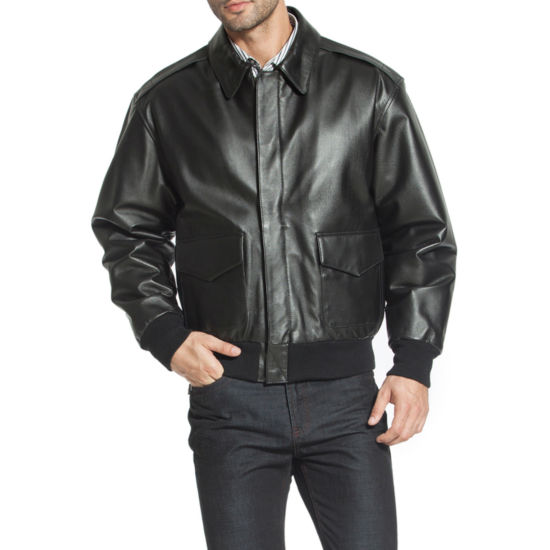 Landing Men's Air Force A-2 Flight Leather Bomber Jacket - Big and Tall