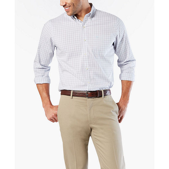 Dockers Mens Long Sleeve Gingham Button-Front Shirt Big and Tall