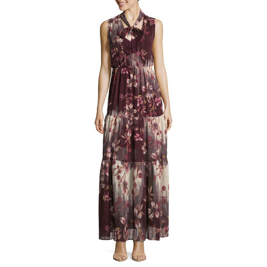 Weslee Rose Sleeveless Tie Floral BOHO Maxi Dress