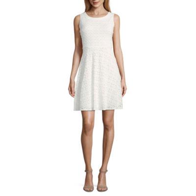 Ronni Nicole Sleeveless Circles Fit & Flare Dress-Petite