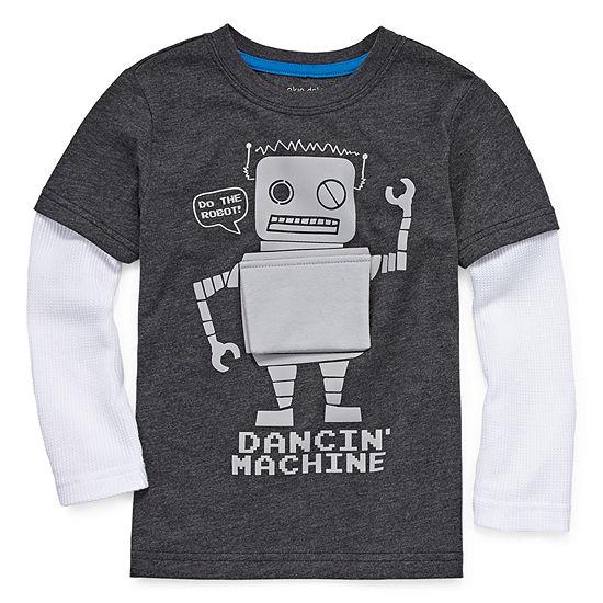 Okie Dokie Boys Round Neck Long Sleeve Graphic T-Shirt-Toddler