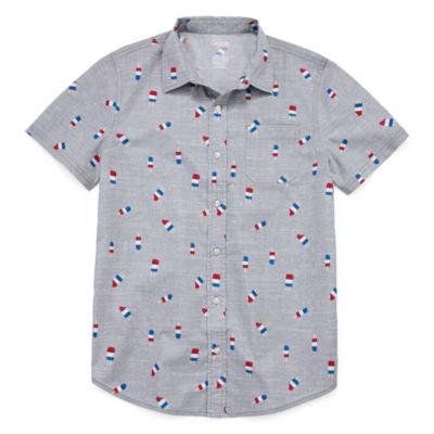 City Streets Americana Short Sleeve Button-Front Shirt Boys