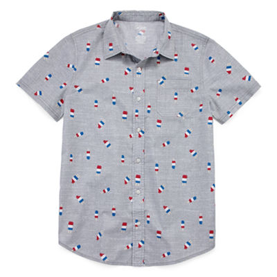 City Streets Americana Short Sleeve Button-Front Shirt Boys