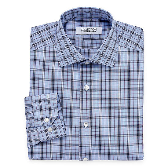 Collection by Michael Strahan Men's Spread Collar Long Sleeve Wrinkle Free Stretch Big And Tall Dress Shirt