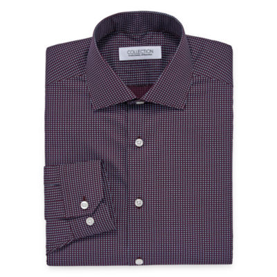 Collection by Michael Strahan  Wrinkle Free Cotton Stretch Big And Tall Long Sleeve Woven Geometric Dress Shirt