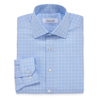Collection by Michael Strahan  Wrinkle Free Cotton Stretch Big And Tall Long Sleeve Woven Checked Dress Shirt