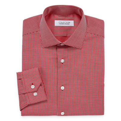 Collection by Michael Strahan  Wrinkle Free Cotton Stretch Big And Tall Long Sleeve Woven Grid Dress Shirt