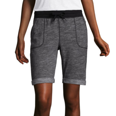 """St. John's Bay Active 9 1/2"""" Classic Fit French Terry Bermuda Shorts-Petites"""