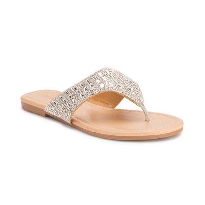 Olivia Miller Womens Embellished Strap Sandals