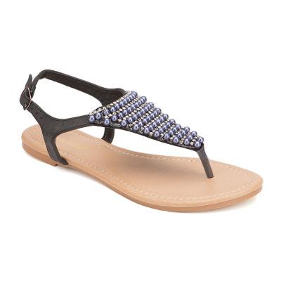 Olivia Miller Embellished Strap Sandals