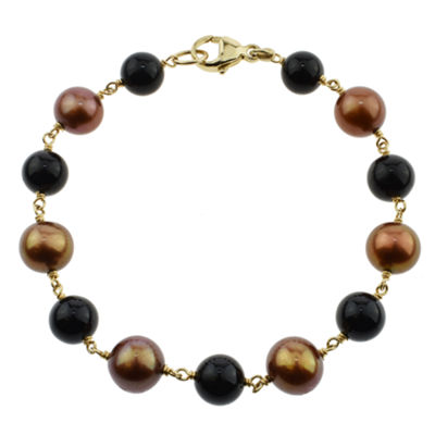 Multi Color Cultured Freshwater Pearl 14K Gold Beaded Bracelet