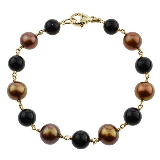 Multi Color Cultured Freshwater Pearl 14K Gold Beaded Bracelet
