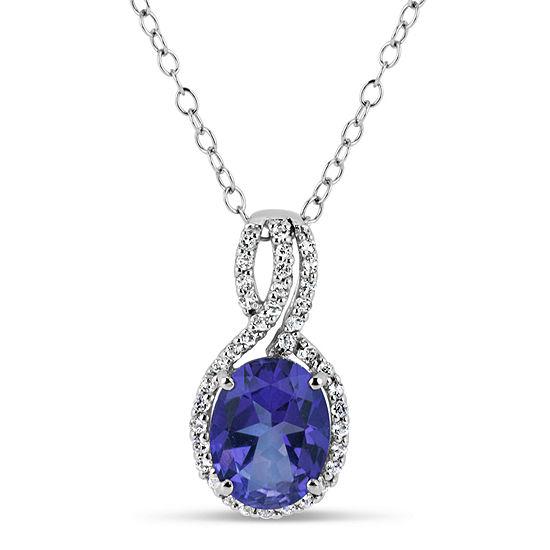 Sterling Silver Purple and White Topaz Swirl Pendant Necklace featuring Swarovski Genuine Gemstones