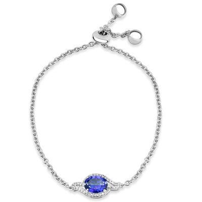 Sterling Silver Purple and White Topaz Swirl Bolo Bracelet featuring Swarovski Genuine Gemstones