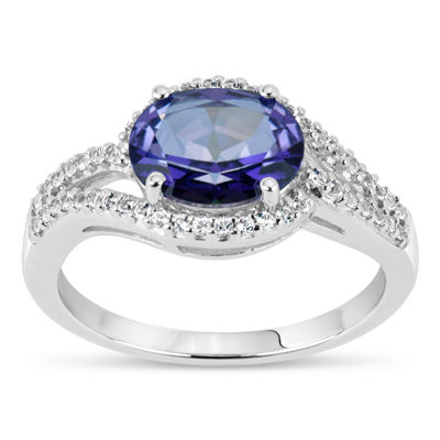 Sterling Silver Purple and White Topaz Ring featuring Swarovski Genuine Gemstones