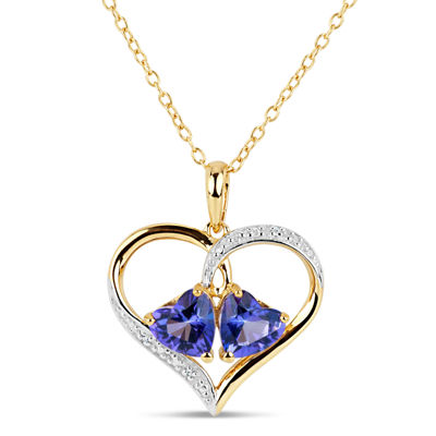 18K Gold over Silver Purple and White Topaz Heart Pendant Necklace featuring Swarovski Genuine Gemstones
