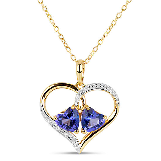 18K Gold over Silver Purple and White Topaz Heart Pendant Necklace featuring Swarovski Genuine Gemstones