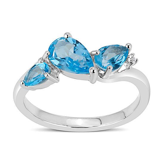 Sterling Silver Blue and White Topaz 3-Stone Ring featuring Swarovski Genuine Gemstones