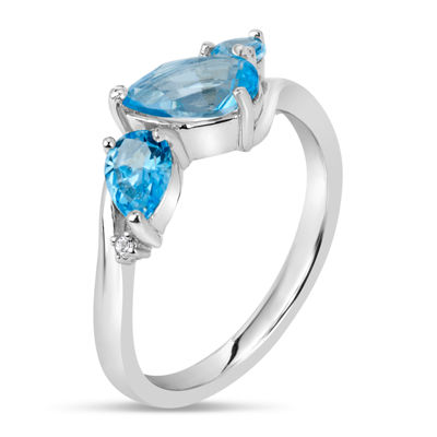 Sterling Silver Blue and White Topaz 3-Stone Ring featuring Swarovski Genuine Gemstones