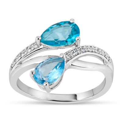 Sterling Silver Blue and White Topaz Bypass Ring featuring Swarovski Genuine Gemstones