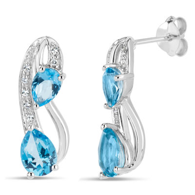 Sterling Silver Blue and White Topaz Stud Earrings featuring Swarovski Genuine Gemstones