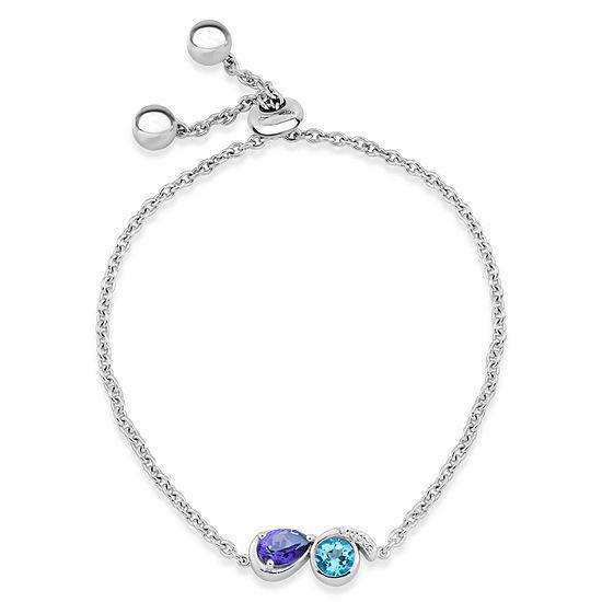Sterling Silver Purple, Blue, and White Topaz Bolo Bracelet featuring Swarovski Genuine Gemstones