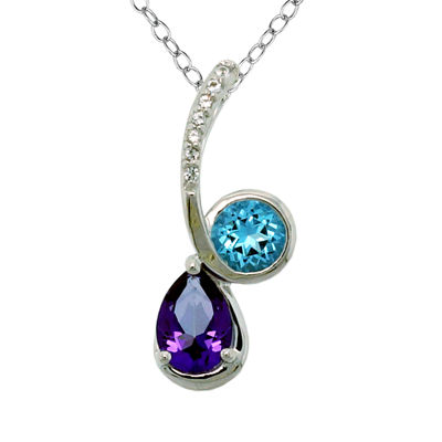 Sterling Silver Purple, Blue, and White Topaz Pendant Necklace featuring Swarovski Genuine Gemstones