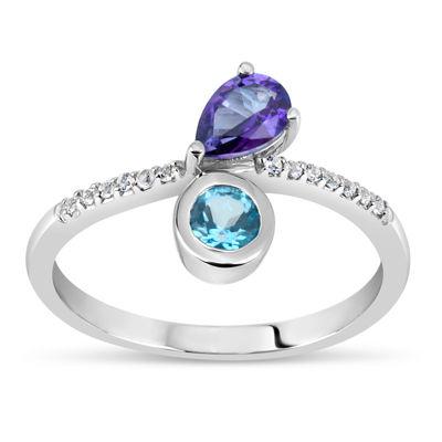 Sterling Silver Purple, Blue, and White Topaz Ring featuring Swarovski Genuine Gemstones