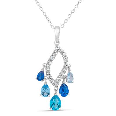 Sterling Silver Blue and White Topaz Chandelier Pendant Necklace featuring Swarovski Genuine Gemstones