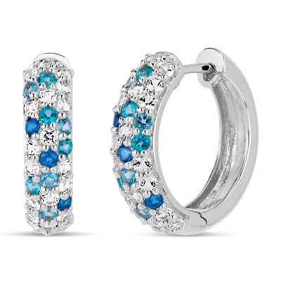 Sterling Silver Blue and White Topaz Hoop Earrings featuring Swarovski Genuine Gemstones
